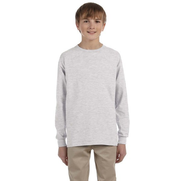 Boy's Long-Sleeve Ash Grey Cotton T-shirt