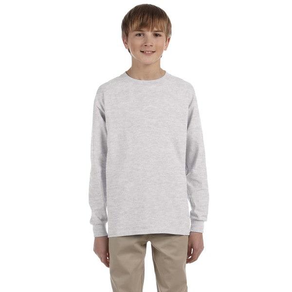 Boy's Long-Sleeve Ash Grey Cotton T-shirt