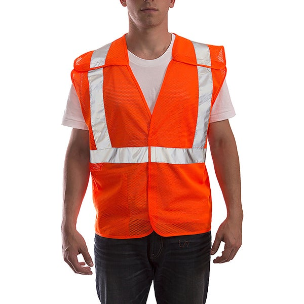 Job Sight V70529 Fluorescent Orange Polyester Mesh ANSI 107 Class 2 Breakaway Velcro Vest
