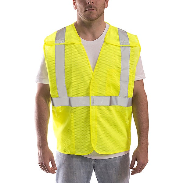 JOB SIGHT Fluorescent Yellow-green Polyester Mesh Breakaway Velcro Vest