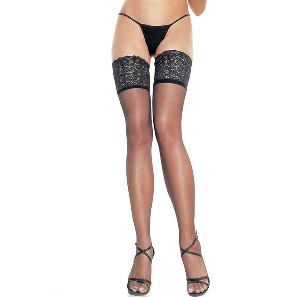 Leg Avenue Opaque Black Silicon Lace-top Thigh-high Tights