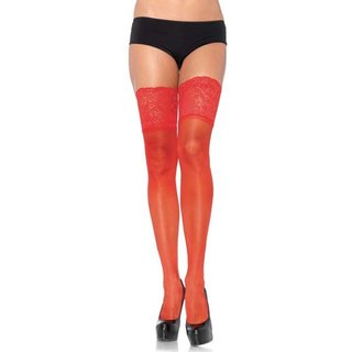 Sheer Red Opaque Thigh High Tights