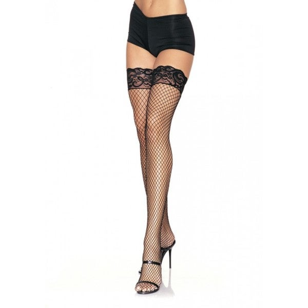 Leg Avenue Black Nylon Spandex Stay-up Industrial Net Thigh-high Stockings