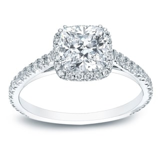 Auriya Platinum 1 1/2ct TDW Certified Cushion-Cut Diamond Halo Engagement Ring (H-I, SI1-SI2)