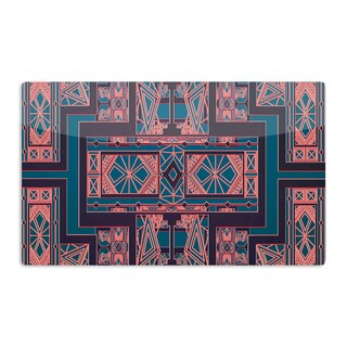 KESS InHouse Nika Martinez 'Golden Art Deco Blue & Coral' Artistic Aluminum Magnet