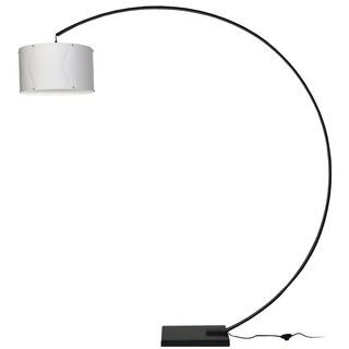 Dainolite Aluminum Arc Black Lamp with White Shade