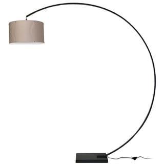 Dainolite Aluminum Arc Black Lamp with Tan Shade