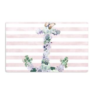 KESS InHouse Nika Martinez 'Floral Anchor' Pink Stripes Artistic Aluminum Magnet