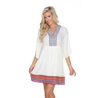 White Mark Women's Gabrielle Embroidered Dress