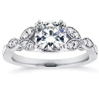 Annello 14k White Gold 1 1/10ct Cushion Forever Moissanite and 1/5ct TDW Diamond Floral Antique Engagement Ring (G-H, I1-I2)