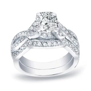 Auriya Platinum 1ct TDW Cushion-Cut Diamond Bridal Ring Set (H-I, SI1-SI2)