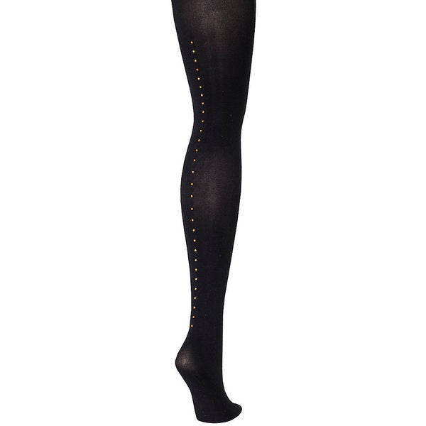 Silk Reflections Women's Control Top Embellished Backseam Tight Black Pantyhose 19467064