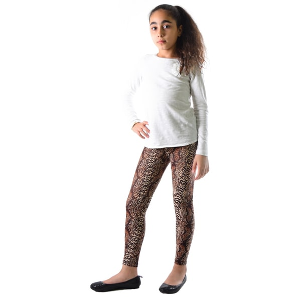 Dinamit Girls' Multicolored Nylon/Spandex Snakeskin-print Leggings