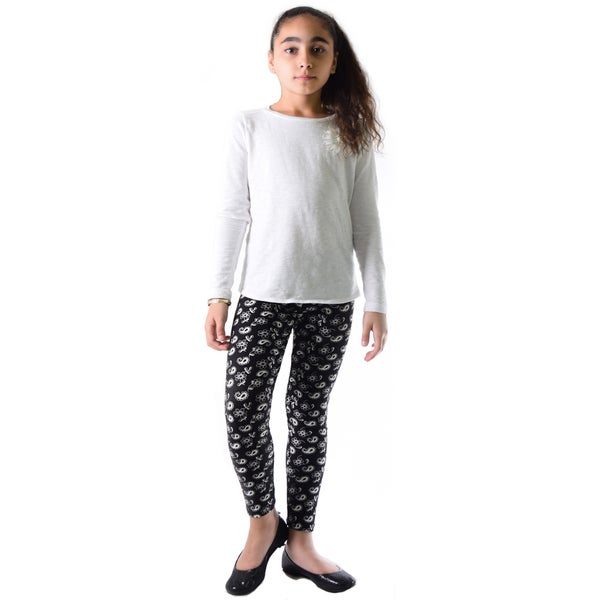 Dinamit Girls Black/White Nylon/Spandex Paisley Printed Leggings