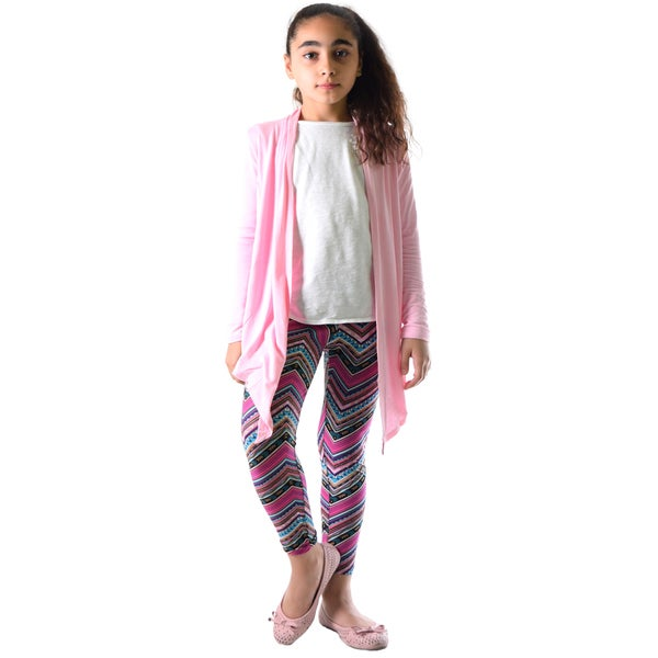 Girls' Multi-color Chevron Pattern Nylon and Spandex Legging