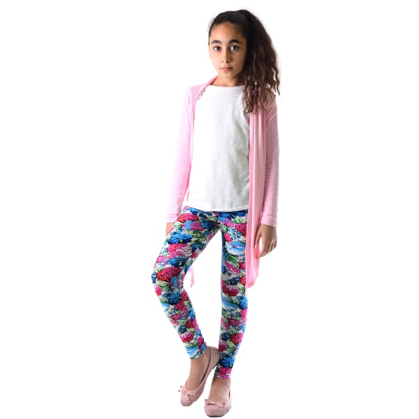 Girls' Multicolor Floral Print Nylon and Spandex Legging