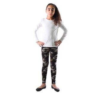 Dinamit Girls' Multicolor Nylon/Spandex Camouflage Leggings