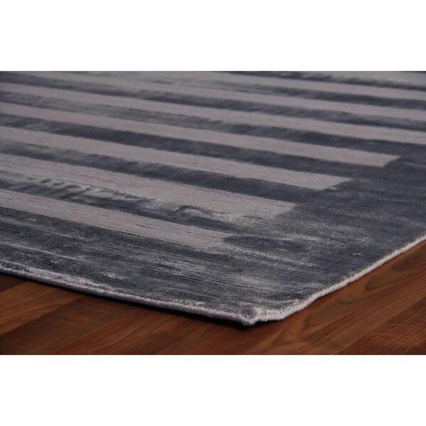 Exquisite Rugs Wide Stripe Grey/Blue Viscose Rug (9' x 12')