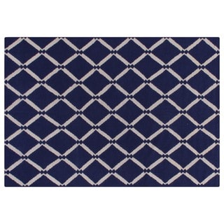 Exquisite Rugs Diamond Royal Blue New Zealand Wool Dhurrie Rug (9'6 x 13'6)
