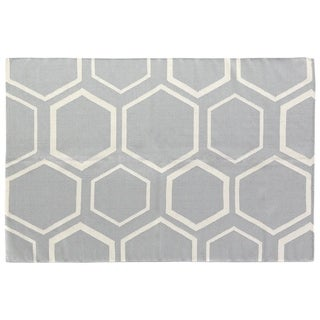 Exquisite Rugs Honeycomb Dhurrie Sky/White New Zealand Wool Rug (9'6 x 13'6)