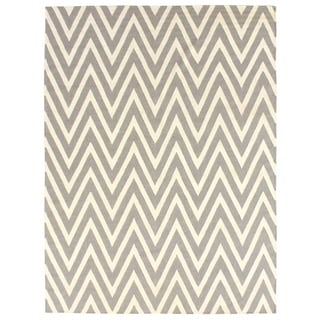 Exquisite Rugs ZigZag Flatweave Silver/White New Zealand Wool Rug (9'6 x 13'6)