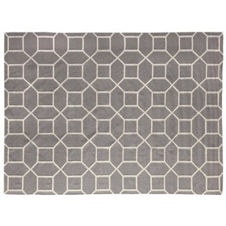Exquisite Rugs Octagon Dhurrie Silver/White New Zealand Wool Rug (9'6 x 13'6)