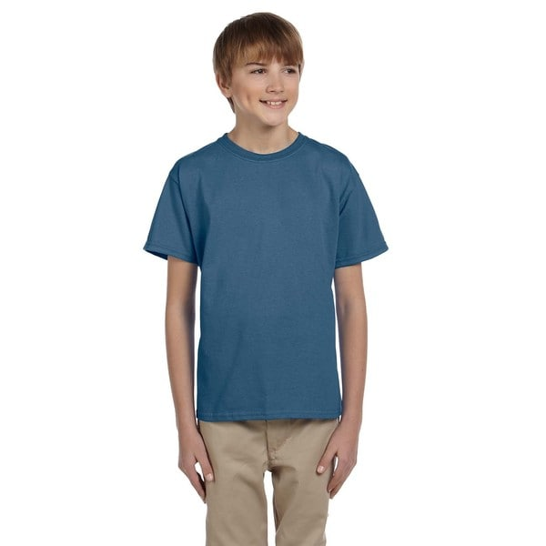 Gildan Boys' Ultra Indigo Blue Cotton/Polyester T-shirt