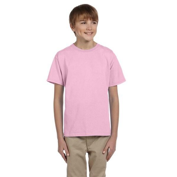 Gildan Boys' Ultra Light Pink Cotton/Polyester T-shirt