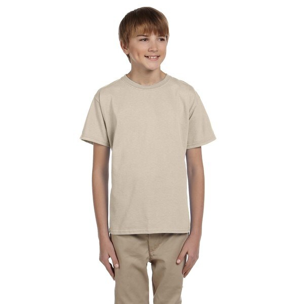 Gildan Boys Sand Cotton/Polyester T-shirt