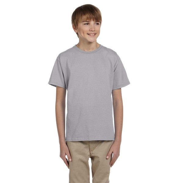 Gildan Boy's Grey Cotton, Polyester Sport T-shirt