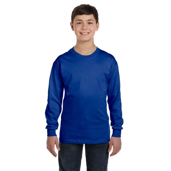 Hanes Boys' Comfortsoft Deep Royal Cotton/Polyester Tagless Long Sleeve T-shirt