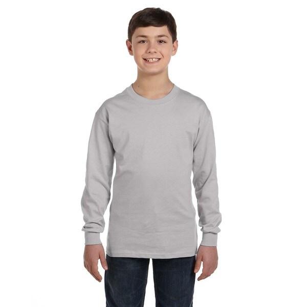 Hanes Men's Youth Light Steel Grey Comfortsoft Tagless Long-sleeve T-shirt