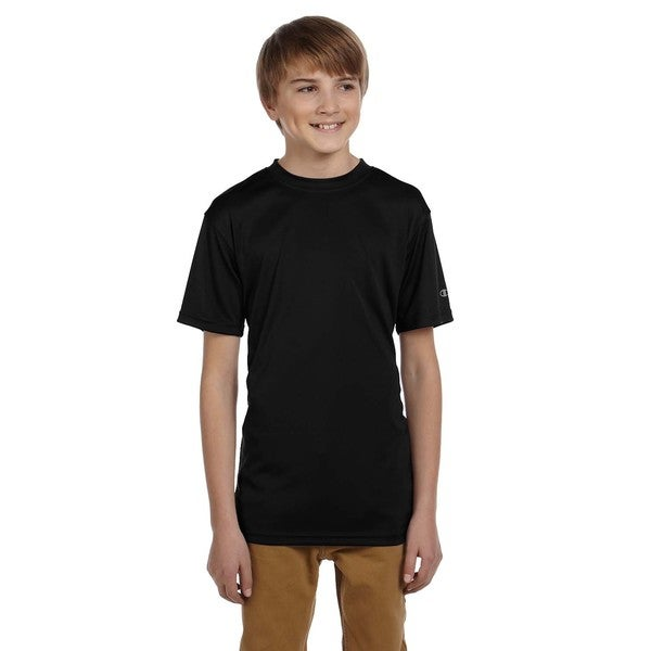 Youth Black Cotton/Polyester Double Dry T-shirt