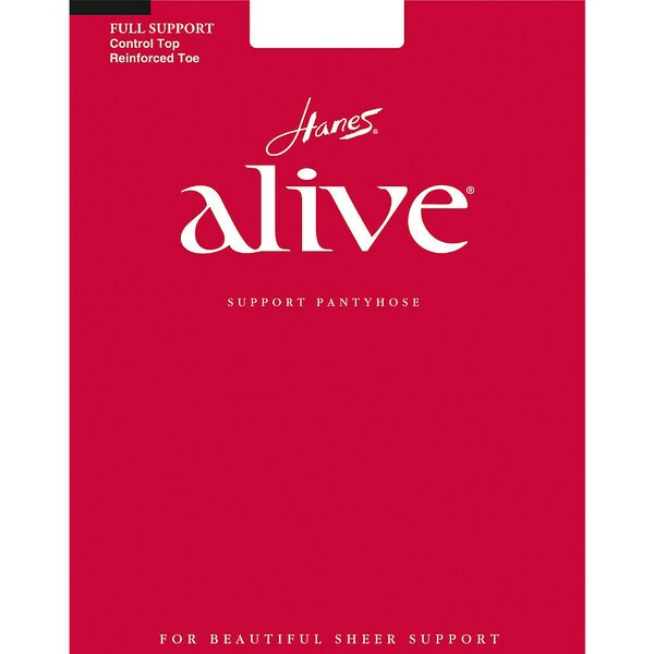 Alive Women's Barely Black Full Support Control Top Reinforced Toe Pantyhose