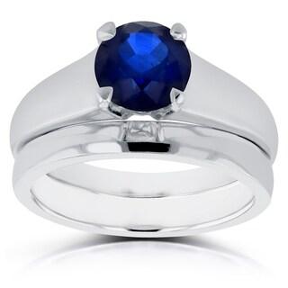 Annello 14k White Gold 1 1/4ct Round Blue Sapphire Solitaire Bridal Set