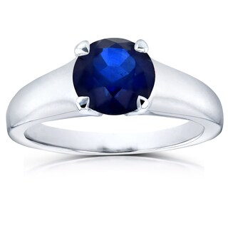 Annello 14k White Gold 1 1/4ct Round Blue Sapphire Solitaire Ring