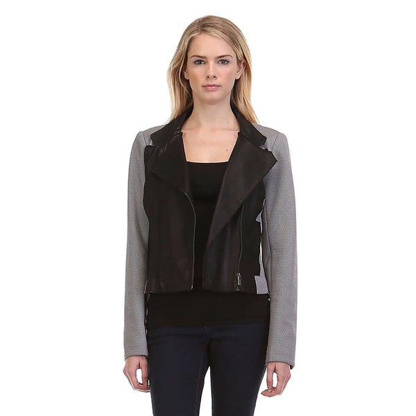 JED Women's Grey Polyester/Spandex Casual Moto Blazer Biker Long Sleeve Jacket