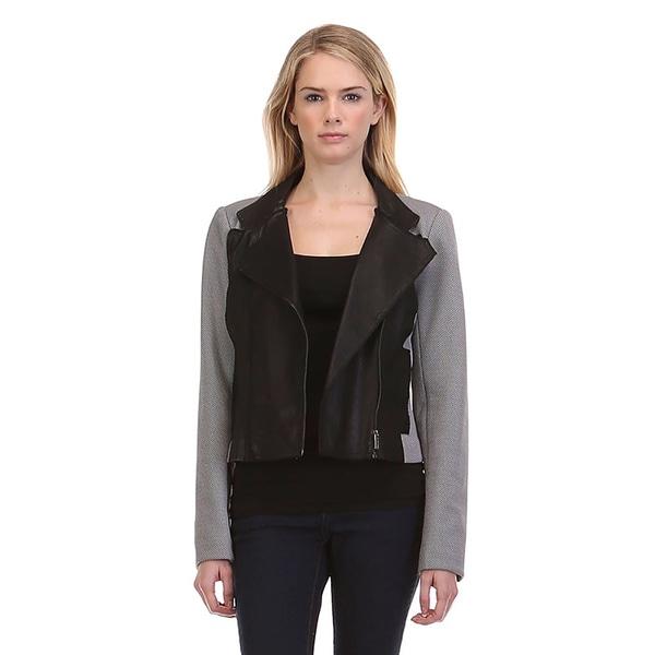 JED Women's Grey Polyester/Spandex Casual Moto Blazer Biker Long Sleeve Jacket