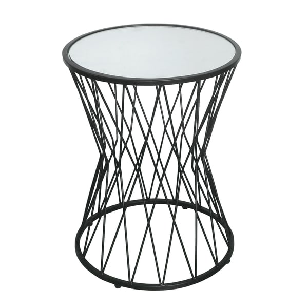 HomePop Hourglass Metal Accent Table Black Mirror Top