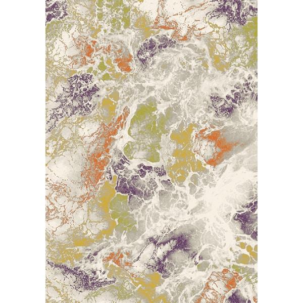 Tangerine Multicolor Polypropylene Cobweb Texture Rug (5'3 x 7'7)