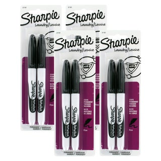 Sharpie Rub-a-Dub Permanent Markers, Fine Point, Black Ink (Pack of 8)