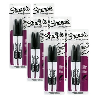 Sharpie Rub-a-Dub Permanent Markers, Fine Point, Black Ink (Pack of 12)