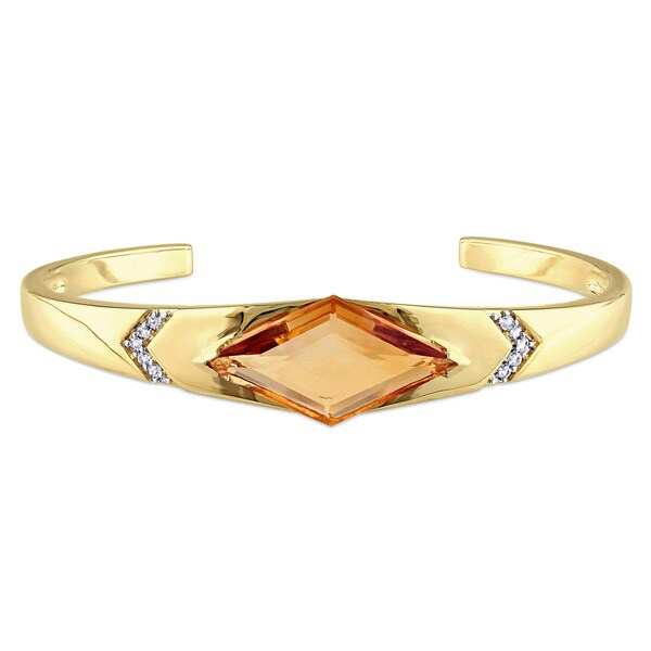 V1969 ITALIA Citrine and White Sapphire Prism Bangle Bracelet in 18k Yellow Gold Plated Sterling Silver