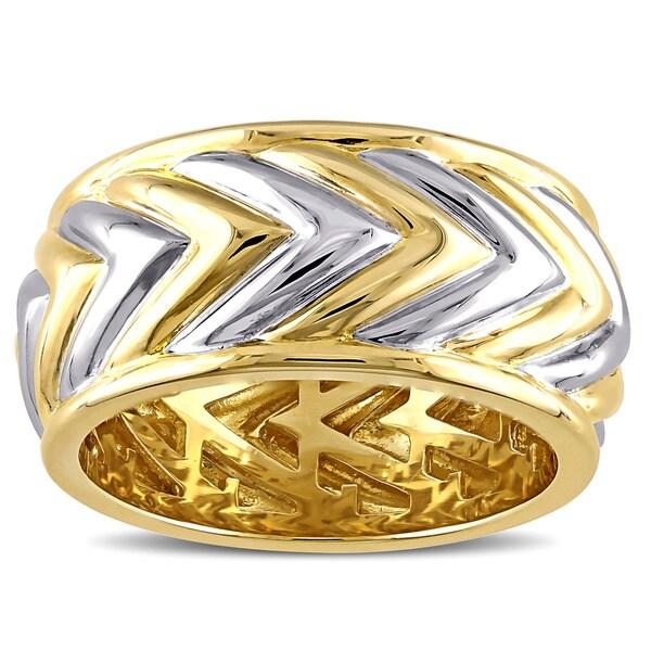 V1969 ITALIA Men's Zig Zag Ring in 18k Yellow Gold Plated Sterling Silver