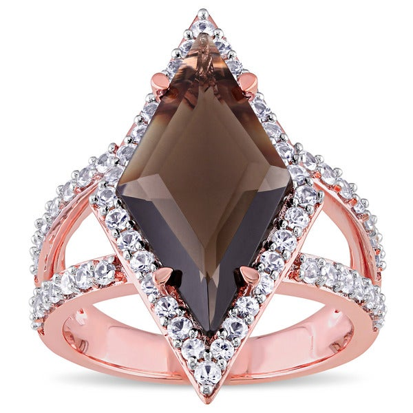 V1969 ITALIA Smokey Quartz and White Sapphire Prism Ring in 18k Rose Gold Plated Sterling Silver