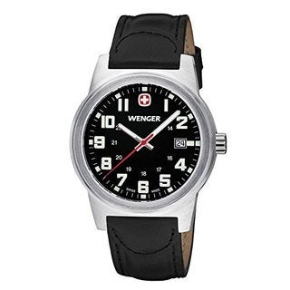 Wenger Men's Field Classic Swiss Quartz Black Leather Watch