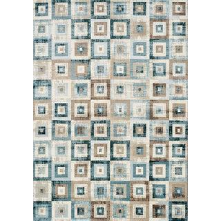 Venti Blue/Beige Cloth Squares Floor Rug (7'6 x 10'10)