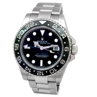 Pre-owned Rolex GMT-Master II Men's Black Ceramic and Stainless Steel Watch