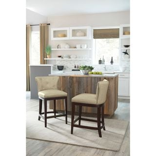 Signature Design by Ashley Canidelli Off White Upholstered Barstool (Set of 2)