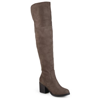 Journee Collection Women's 'Sana' Faux Suede Regular and Wide Calf Tall Round Toe Boots